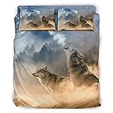 Bettwäscheset Wolf Queen, glatt, knitterfrei, für Zuhause, Schlafzimmer, Weiß, 228 x 264 cm