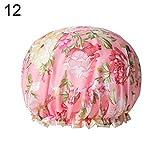WFZ17 Damen Haarkappe, schnelltrocknend, doppelschichtig, mit Blumen-Punkten, für Spa oder Dusche