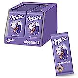 Milka Alpenmilch 32 x 40g Kleintafel, Zartschmelzende Schokoladentafel aus 100% Alpenmilch