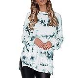 Lässiges Damen-Sweatshirt, langärmelig, Seitenschlitz, schulterfrei, Batikdruck-Pullover