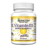 BIOMENTA Vitamin D3 hochdosiert – vegan - 20000 I. E. je Vitamin D Tablette – Depot 1 Tab....