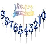 10 Stück Nummer 0-9 Geburtstag Ziffer Kuchen Kerzen + 1 Stück Brief Alles Gute zum Geburtstag...