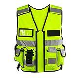 Einsatz Warnweste mit Reißverschluss reflektierend für Polizei, Security, Sicherheitsweste mit...