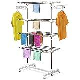HOMCOM Mobiler Wäscheständer Wäschetrockner-Turm Seitenflügel auf 3 oder 4 Ebenen klappbar (4...