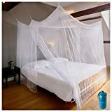 EVEN NATURALS Luxus MOSKITONETZ Doppelbett, XL Mückennetz für Bett, feinste Löcher, rechteckiger...