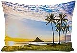 CDMT-XU1 Strandkissen Beach Beautiful Sunrise von Chinaman Hat auf Oahu Hawaii Aloha Beachsunset...