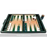 Crisloid Classic Green Champion Attaché 19-inch Backgammon Set