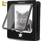 CEESC Große Katzenklappe, magnetische Haustiertür mit 4-Wege-Drehverschluss für kleine Hunde und...