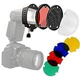 Minadax Universal Blitz Diffusor Portrait Lichtformer-Set Softbox Dome + Farbfilter für...