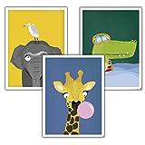 Close Up Kinderzimmer Poster Afrika 3er-Set (30 x 40 cm   11,8x15,7') Babyzimmer Deko Bilder, Tiere...