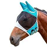 Ximai Pferde Fliegenmaske Horse Fly Mask Fliegenschutzmaske Insektenschutz UV-Schutz (Large/Green)
