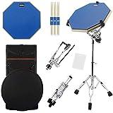 Silent Drum Übungspad 30,5 cm doppelseitiges Schlagzeug mit verstellbarem Snare-Ständer und 3 Paar...
