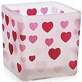 justbelight Teelichthalter Herz-Design, Milchglas, 6 cm, Romantisches Teelicht als Geschenk, zum...