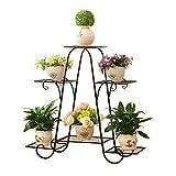 WISFORBEST Blumentreppe Metall, Blumenständer mit 4 Ablagen Pflanzentreppe für Innen-Balkon...