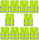 10 Warnweste Sicherheitswesten Neon Gelb - 360 Grad Sichtbarkeit - Waschbar - KFZ EN471