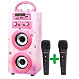 DYNASONIC (3. Generation | Tragbarer Karaoke-Bluetooth-Lautsprecher mit Mikrofonen | USB-Anschluss...
