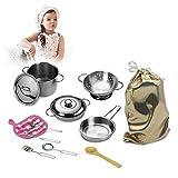 HEIRAO 12 Stücke Set Edelstahl Kinder Spielen Kochgeschirr Spielzeug, Kochen Töpfe und Pfannen...