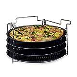 Relaxdays Pizzablech im 4er Set HBT: 20 x 32 x 32 cm Pizzabäcker-Set mit 4 Backblechen und Ständer...