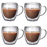 PLUS PO Doppelwandige GläSer Latte Macchiato Espressotassen Glas ThermogläSer Mit Henkel Perfekt...