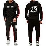 KJYAYA Herren Trainingsanzug Set Kapuzenpulli Hose Jordan # 23 Basketballkleidung Unisex Long Sleeve...