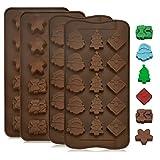 GOLRISEN 4 Stück Weihnachten Schokoladenformen Silikon Pralinenform Lebensmittelqualität...