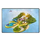 N/A Teppich Tropical Resort On Flip-Flops Palme Urlaub Modern Fußmatte waschbar Teppich Rechteck...