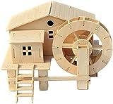 Yapott Wasser Rad Holzbearbeitung Konstruktion Set Wassermühle Kabine 3D Holzmodell Puzzle für...