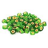 Dekorative Glasperlen, schmelzbare Glasperlen, Schmuckhandwerk Glatte Oberfläche Blumenmuster Grün...