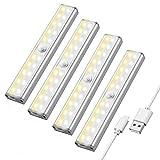 Maxuni LED Schrankbeleuchtung mit Bewegungsmelder, 3 Helligkeitstufen Sensor Licht, Wideraufladbare...