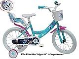 Disney Fahrrad 16 Zoll Mädchen Frozen 2 Bremsen Tür Hupe hinten + Helm Fahrrad Kinder Mehrfarbig...
