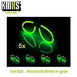 KNIXS 5er Set Knicklicht Brillen in Grün Leuchtend (einzeln verpackt) für Party, Disko, Karneval...