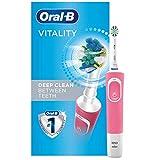 Oral-B Elektrische Zahnbürste mit 1 Oral-B Ersatzbürstenkopf Vitality Flossaction, rosa