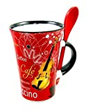 Little Snoring Gifts: Cappuccino Tasse With Spoon - Saxophon (Red)