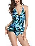 Verano Playa Damen Badeanzug V-Ausschnitt Einteiler Criss Cross Back Badeanzug - Mehrfarbig - Medium...