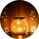 ecooe Aromalampe Duftlampe aus Keramik weiß mit der Candle Löffel Aroma Diffuser (Keramic...