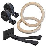 ALPIDEX Holz Turnringe Gymnastikringe Gym Ringe inklusive Türanker und Befestigungsgurte mit...