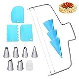 ZITFRI 14 Teiliges Torten Zubehör Set -1 Verstellbar Tortenbodenteiler, 3 Silikon Spritzbeutel mit...