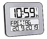 TFA Dostmann TimeLine Max Funkuhr, Wanduhr, digital, mit Wochentag und Weckfunktion, silber,...
