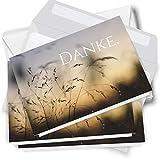 Trauer Danksagungskarten mit Umschlag | Motiv: Gräser, 10 Stück | Dankeskarten DIN A6 Set |...