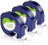 Unistar Kompatibel Etikettenband als Ersatz für Dymo Paper White 12mm x 4m Letratag 91220 91200...