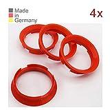 KONIKON 4X Zentrierringe 63,4 x 57,10 mm Rot Felgen Ringe Radnaben Zentrierring Adapterring Ring...
