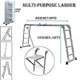 Mehrzweck-Leiter aus Aluminium, zusammenklappbar, 4,7°m, 15,5°m, mit ausziehbarer Leiter, 1...