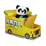 Relaxdays Sitzbox Kinder, Staubox mit Deckel, Spielzeug, faltbar, Schulbus, Stauraum, Jungen &...