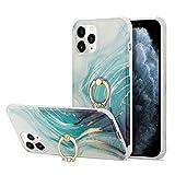 Marmor Handyhülle für Samsung Galaxy S10e Handytasche mit 360 Grad Ring Halter Hüllen Hülle...