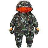 Baby Winter Overall Mit Kapuze Jungen Schneeanzüge mit Handschuhen und Füßlinge Warm Kleidungsset...