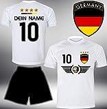 Deutschland Trikot Set 2018 mit Hose GRATIS Wunschname + Nummer im EM WM Weiss Typ #DE5th -...