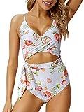 PEDDNEY Damen-Badeanzug, Einteiler, mit Ausschnitt, hohe Taille, Bindeverschluss, Monokini,...