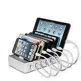 Ladestation Mehrere Geräte YOJA 6 Port USB Multi Ladestation Handy Tablet USB Ladegerät Type 1 mit...