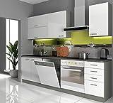 Küche Vario Basic I 240 cm Küchenzeile in Hochglanz weiß Küchenblock Einbauküche