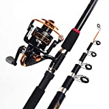 1yess Angelrute Angelrute Set Angelrute Pole und Spinning Rolle Combo Carbon Faser Teleskop...
